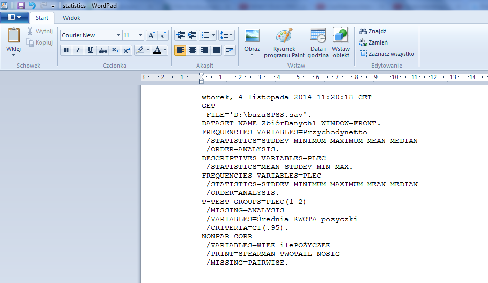 wordpad statistics